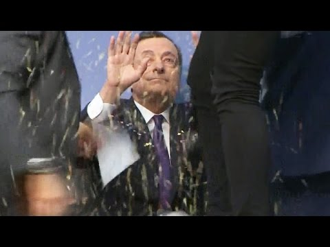Protester glitterbombs European Central Bank's president