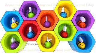 Learn Colors With Wooden Bees Beehive Preschool Toys Surprise Learning Video Fun for Kids