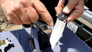 Sharpening a Single-Bevel, Partially Serrated Tanto Knife with the Work Sharp Knife Sharpener