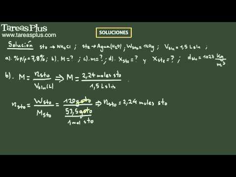 Soluciones (mezcla de soluto y solvente). Ejemplo 4