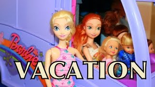 Frozen FAMILY VACATION AllToyCollector Elsa, Anna, Toby & Chelsea Barbie Motorhome RV Yellowstone