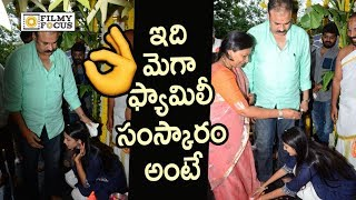 Niharika Taking Blessings from Naga Babu and Padmaja @New Movie Launch