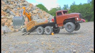 RC CONSTRUCTION ZONE! HEAVY LIEBHERR 970 & STONE BLOCK TRANSPORT!