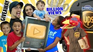 GOLD PLAY BUTTON GIVEAWAY! + 1 Billion Views Trophy? (Skylander Boy and Girl Special Delivery)