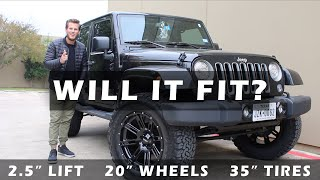 """WILL IT FIT? Jeep Wrangler- 2.5"""" Lift, 20"""" Wheels, 35"""" Tires"""
