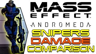 ALL SNIPER-RIFLES COMPARISON| Mass Effect Andromeda Testing Sniper Rifle Damage on Insanity