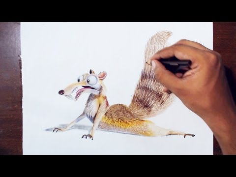 Drawing scrat (the saber toothed squirrel) from the movie Ice age.