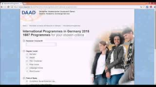 How to find the right program on DAAD Website