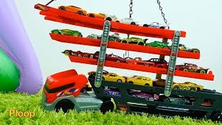 HOTWHEELS Transporter Truck RACE Episode #2! - Toy cars videos for kids Learn Colors