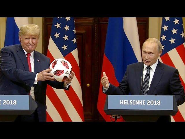 Vladimir Putin Brings Soccer Ball for Barron Trump