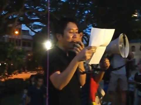 Jolovan Wham, Alfian Sa'at speak at Singaporeans in Solidarity with Malaysians at Hong Lim part 1