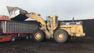 Cat 988F Wheel Loader Loading Coal On Trucks - Labrianidis SA