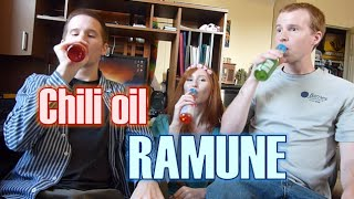 My brothers try Ramune! (Chili oil flavor... XD)