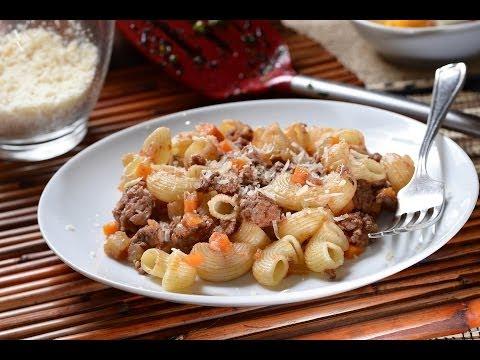 Coditos con carne de res- Recetas de pasta