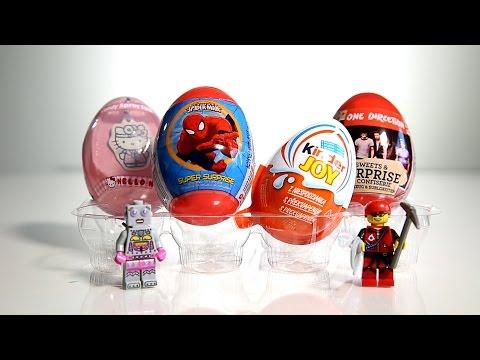 Lego 4x Surprise Eggs: Spider Man One Direction Kinder Joy Hello Kitty video