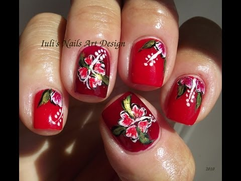 Easy Hawaiian hibiscus flower for beginners nail art design Summer 2013