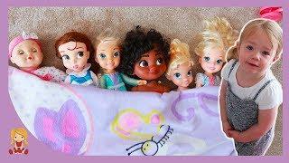 Fun Hide & Seek Game with Baby Dolls & Disney Princess Moana, Elsa, Cinderella, Belle and Tinkerbell