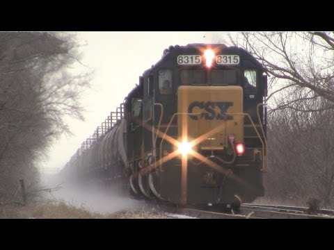 CSXT 8315 East, SD40-2, SD60I and SD50-2 by Hampshire, Illinois on 1-13-2013