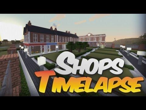 Minecraft Timelapse - Designing with Redpower - British Terraced Shops Street