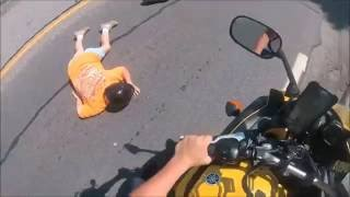 Quick Stop Leaves Biker's Old Lady On The Pavement!