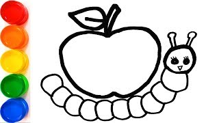 Caterpillar and Apple - Coloring and Drawing for Kids, Toddlers - Learn Draw - Coloring Pages