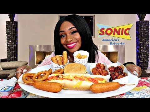 Sonic Mukbang, Corn dogs, Foot Long hot dog, chicken wings, tater tots thumbnail