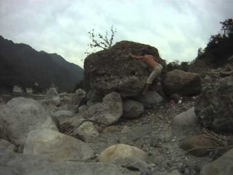 Bouldering on the banks of the Ganga