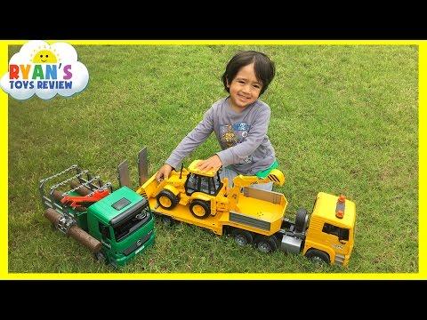 Construction Vehicles toys videos for kids Bruder Truck Crane Truck Loader Backhoe Disney Toys Cars