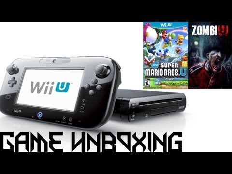 Game Unboxing - Nintendo Wii U [Deluxe Edition]. New Super Mario Bros. U. ZombiU