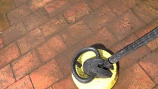 Cleaning patio with karcher pressure washer