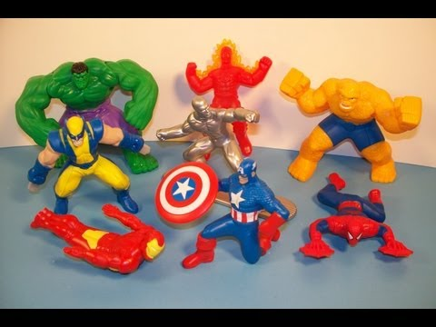 2010 MARVEL HEROES SET OF 8 McDONALD'S HAPPY MEAL KID'S TOY'S VIDEO REVIEW