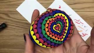 Spiral Rainbow Heart Rock Painting Idea
