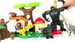 Little people Jungle ZOO/Toy Animals and Schleich Toys/Wild Safari Preschool Children Fun video