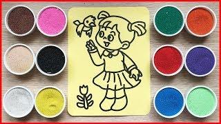 Đồ chơi trẻ em TÔ MÀU TRANH CÁT CÔ BÉ & CHÚ CHIM - Colored sand painting toys for kids (Chim Xinh)