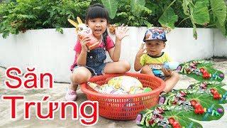Trò Chơi Săn Trứng Tai Thỏ Đồ Chơi Trẻ Em - Bé Bún vs Bé Bắp Về Quê ♥CreativeKids ♥