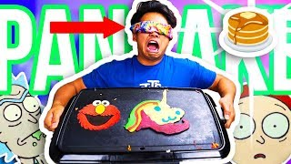 BLINDFOLDED PANCAKE ART CHALLENGE!