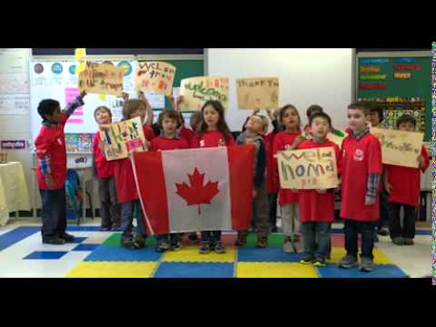 The grade 1 students from Holy Cross Catholic School in Ottawa sing Oh Canada
