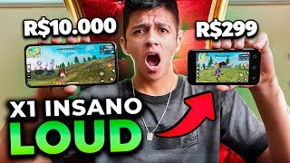 X1 vs. PRO PLAYERS DA LOUD EM CELULAR DE 300 REAIS!! FREE FIRE