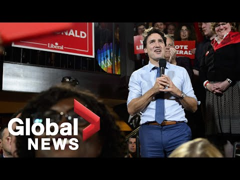 Canada Election Justin Trudeau holds a rally in Victoria