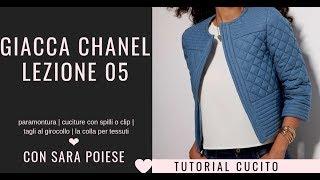Giacca Chanel: lezione 05 | paramontura | cucire spilli o clips | girocollo | colla per tessuti