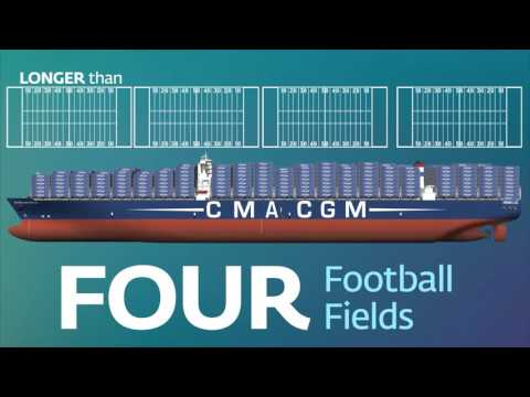 How big is a megaship like the CMA CGM Benjamin Franklin?