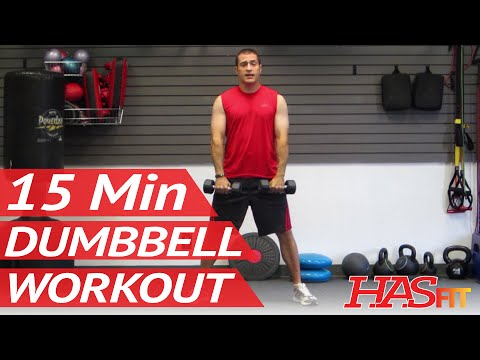 HASfit 15 Minute Dumbbell Workout Routine - Dumbbells Exercises for Strength - Training Work Out Image 1