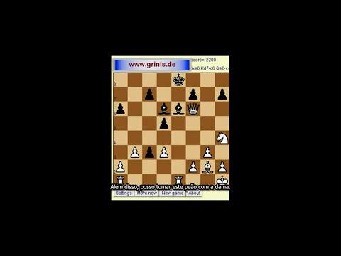 Xadrez para iniciantes. O computador joga sem a dama e as duas torres. HD