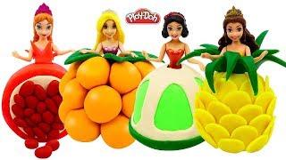Play Doh Fruit Dresses for Disney Princess Rapunzel, Belle, Snow White & Frozen Anna