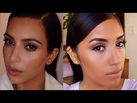 Kim Kardashian Natural/ Everyday Dewy Makeup Tutorial  Neutral Eyes + Nude Lips