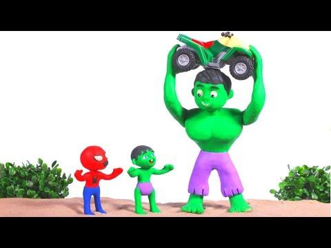 STRONG SUPERHERO LIFTS THE MOTORBIKE ❤ SUPERHERO BABIES PLAY DOH CARTOONS FOR KIDS