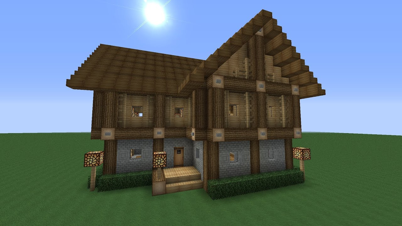 Detailed Advanced 2 Story Wooden House Minecraft Tutorial ...
