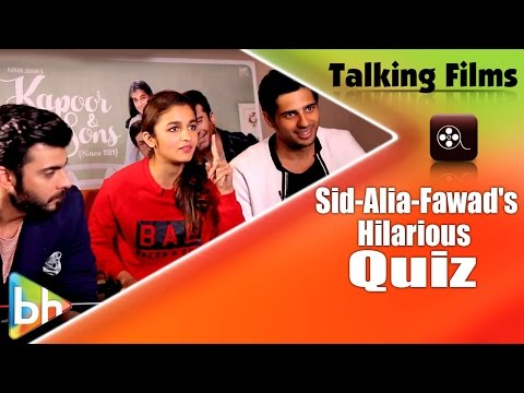 Talking Films HILARIOUS Quiz With Sidharth Malhotra | Alia Bhatt | Fawad Khan