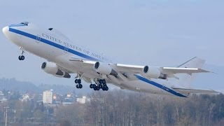 INCREDIBLE SOUND of this USAF Boeing E-4B at ZRH (Live ATC)