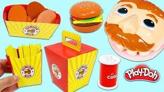 Feeding Mr. Play Doh Head Pretend McDonalds Happy Meal Toy Set!